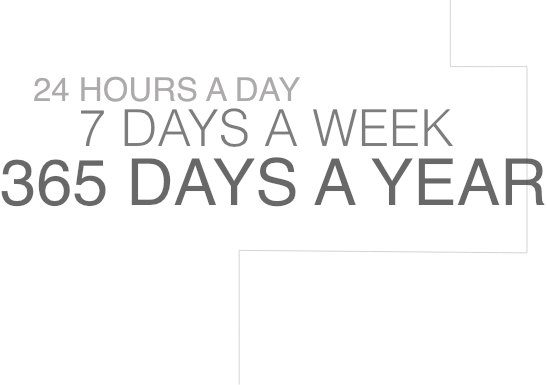 24 Hours a Day, 7 Days a Week, 365 Days a Year